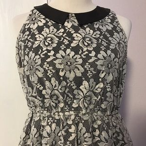 Xhilaration Cream & Black Floral Lace Dress Size L